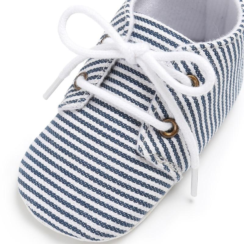 Newborn Infant Baby Canva Kids Girls Boys Stripped Crib First Walk Shoes Sneaker