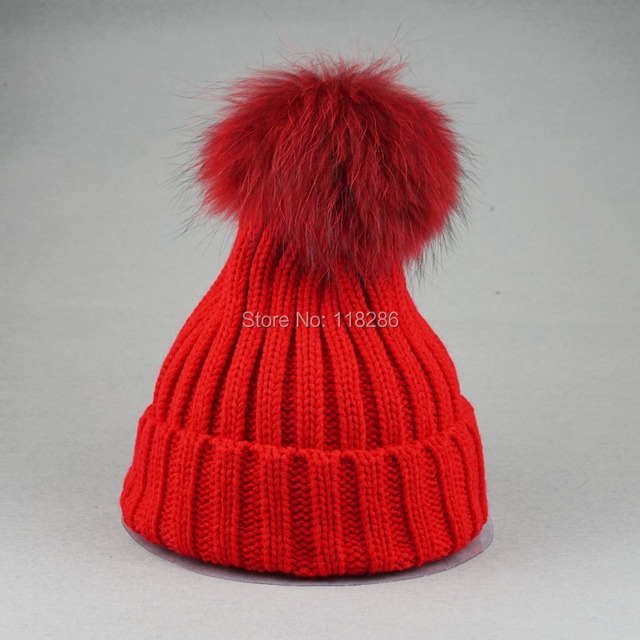 Winter Brand New Colorful Snow Caps Wool Knitted Beanie Hat With Fur Pom Poms for Women Men Hip Hop Skullies Cap
