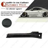 Car Accessories FRP Fiber Glass GRD X Pandem Ver.3 Aero Style Side Skirt with Canard Fit For 2012 2016 GT86 FT86 ZN6 FRS BRZ