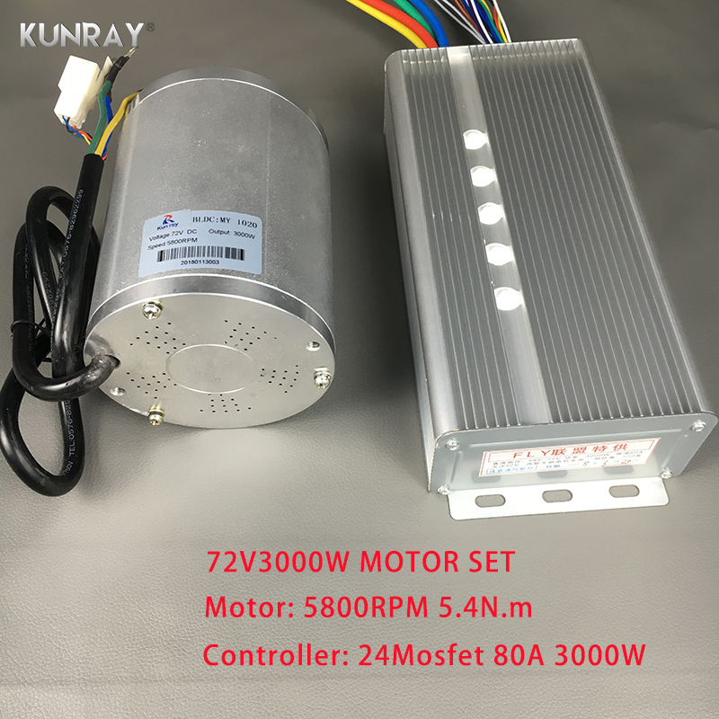 KUNRAY BLDC 72V 3000W Brushless Motor Kit With 24 Mosfet 80A Controller For Electric Scooter E bike E-Car Engine Motorcycle Part ...