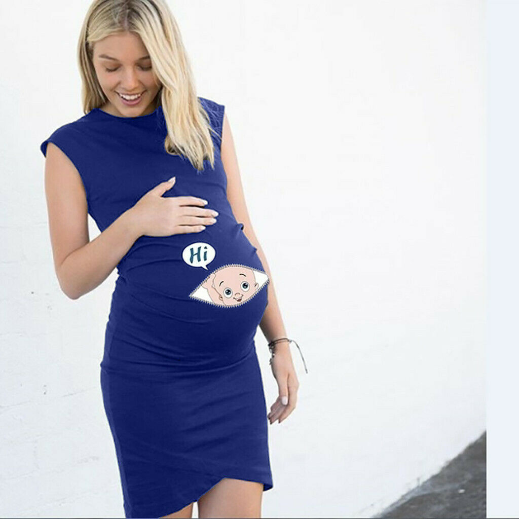 Women Pregnant Summer Sleeveless Maternity Stretch Mini Bodycon Dress Plus Size Clothing Shoes Accessories Maternity Clothing