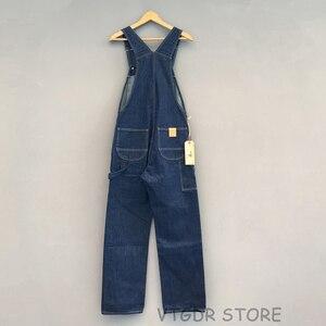 Image 4 - בוב דונג 40s שלוש in one Wabash פסים סרבל בציר גבוהה חזור ינס מכנסיים 40s רטרו מכנסיים