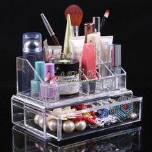 Двойной слой рабочего стола прозрачный косметика ганизатор косметическая коробка помады держатель jewelry box