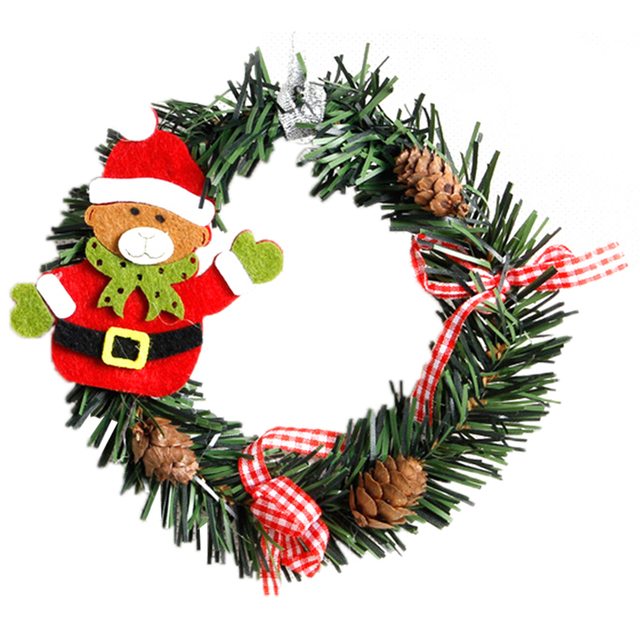 2pcs plastic christmas wreath garland christmas decorations for home pine snowman santa claus door decor ornaments - Garland Christmas Decor