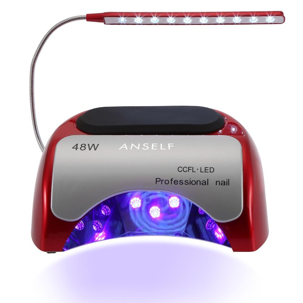 Anself 48 Вт светодиодный + CCFL Сушилка для ногтей встроенный вентилятор гелем машина ногтей Книги по искусству инструмент Инфракрасный Авто-инд...