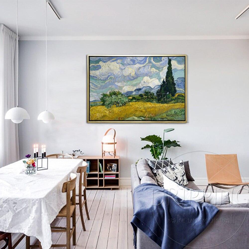 الانطباعي النفط اللوحة رسمت باليد المشهد حقل القمح مع السرو فان جوخ اللوحة حقل القمح مع السرو-في الرسم والخط من المنزل والحديقة على  مجموعة 2