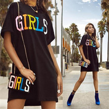 Girls Letter Print Black T Shirt Dress Summer Women O-Neck Short Sleeve Everyday Dresses Loose Tunic Casual Mini Dress Long Tops women spring summer loose oversized dress short sleeve letter t shirt dress casual o neck cotton dresses white black red xxl