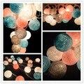 20 Bolas/pcs azul-rosa-cinza-branco mix de Algodão Bola luzes Cordas de Fadas Partido home Pátio decoração de casamento Romântico