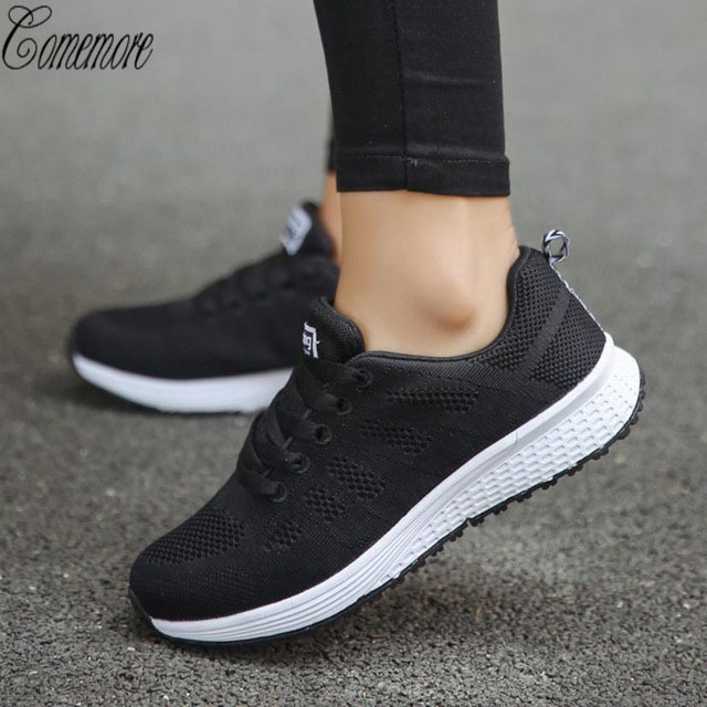 Comemore Women Sport Shoes Lace-Up Beginner Rubber Mesh Round Cross Straps Flat