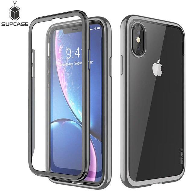 SUPCASE dla iPhone X Xs Case UB Electro Full Body przezroczysty Glitter Slim hybrydowy pokrowiec z wbudowanym ochraniaczem ekranu