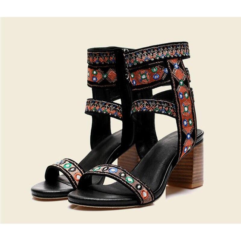 Hauts De Ouvert K654 Folk Sandalia 1 Chaussures Parti À Talons Mouton Peau Nouvelles Bout En Femme Femmes Sandales Brodé personnalisé Feminina Mince cwyzR1waYq