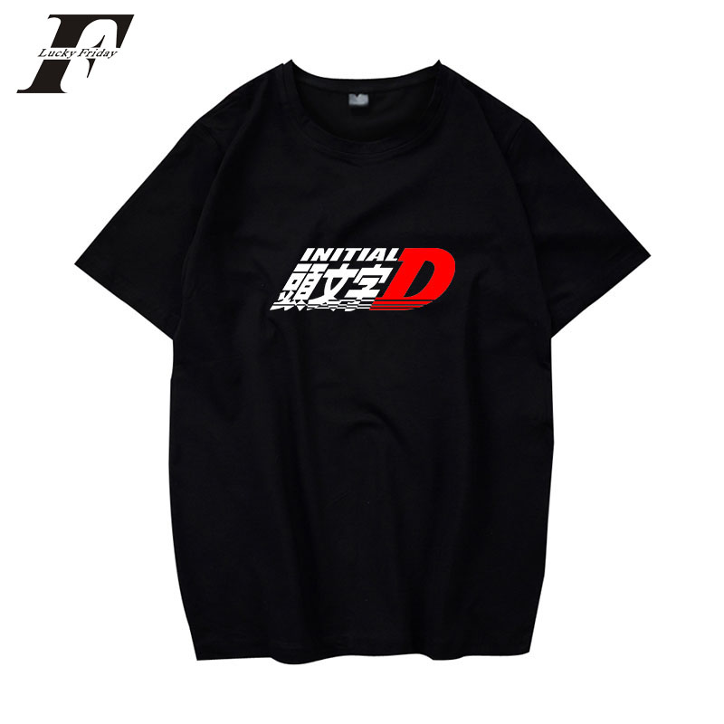 LUCKYFRIDAYF 2018 INITIAL D men brand clothing funny t shirts cotton short sleeve men wo ...