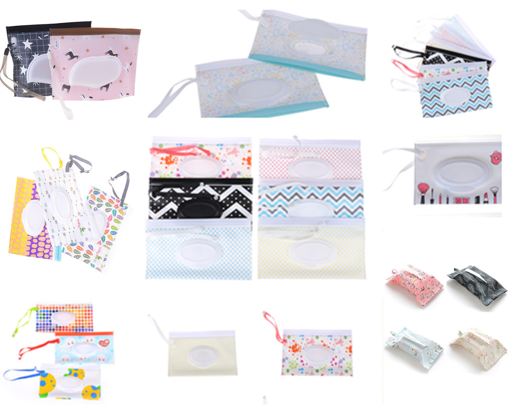 Portable Cartoon Baby Kids Wet Wipes Clutch Carrying Bag Wet Paper Tissue Container Dispenser Snap-strap Pouch Light Weight