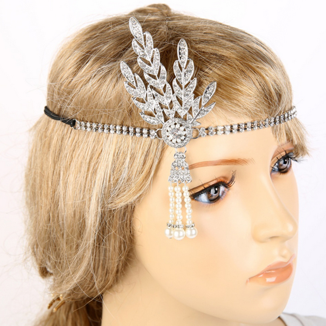 Art Deco 1920s Vintage Bridal Headpiece Costume Hair Accessories Fler Great Gatsby Inspired Leaf Medallion Pearl Headband In From