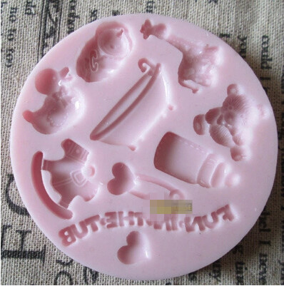 Duck Carousel baby bottle bath baby chocolate silicone mold fondant cake decoration mold chocolate mold