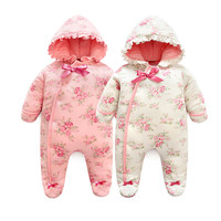 Winter Newborn Baby Girl Rompers Thicken Warm Cotton Jumpsuit Hooded Clothing Floral Princess Christmas Girls Onesie