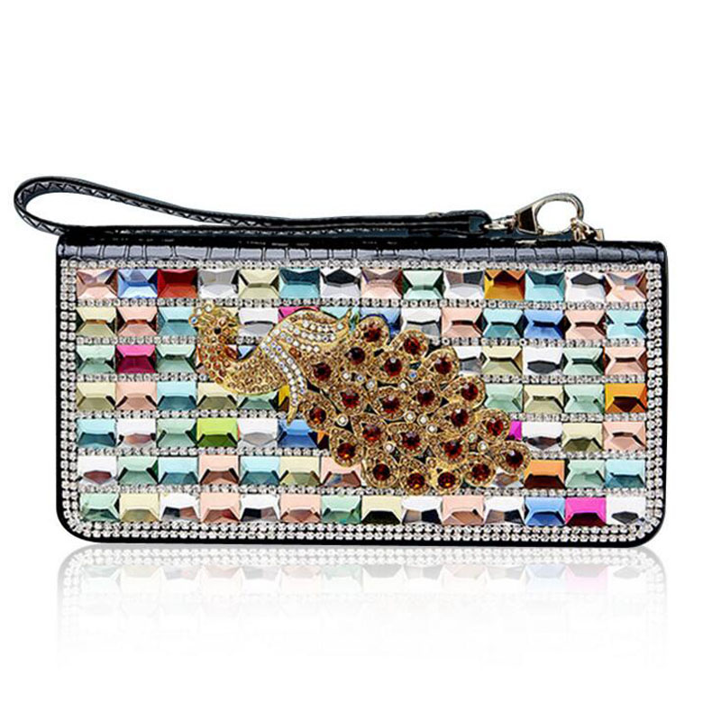 ФОТО Luxury Peacock Imitation Diamond Women Wallet Alligator Genuine Leather Clutch Purse For Christmas Party 2016 New Arrival