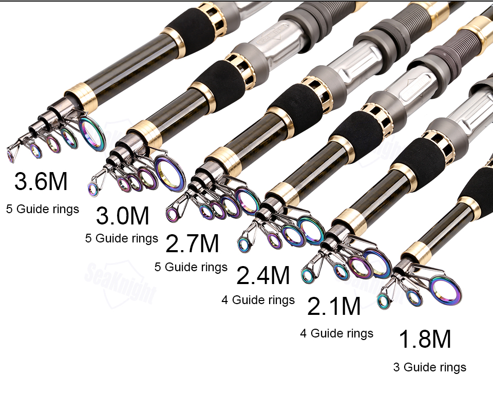 SeaKnight DAGON Telescopic Fishing Rod 1.8M 2.1M 2.4M 2.7M 3.0M 3.6M 98% Carbon Fiber Rod Travel Rod 30-50g Carp Fishing Pole 9