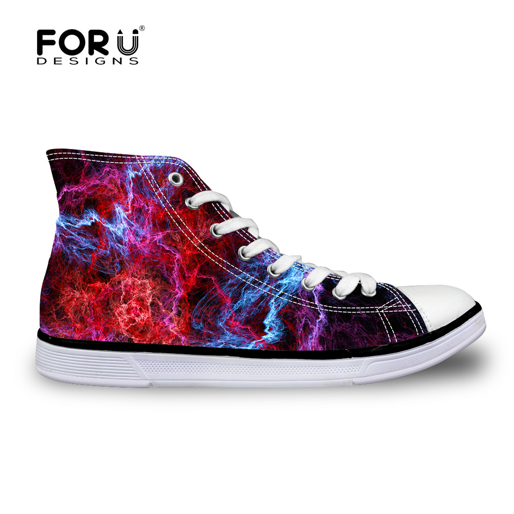 FORUDESIGNS 3D Galaxy Universe Star Men Flats Shoes Fashion Casual Canvas Platform Shoes High Top Mujer Zapatillas Size 35-40