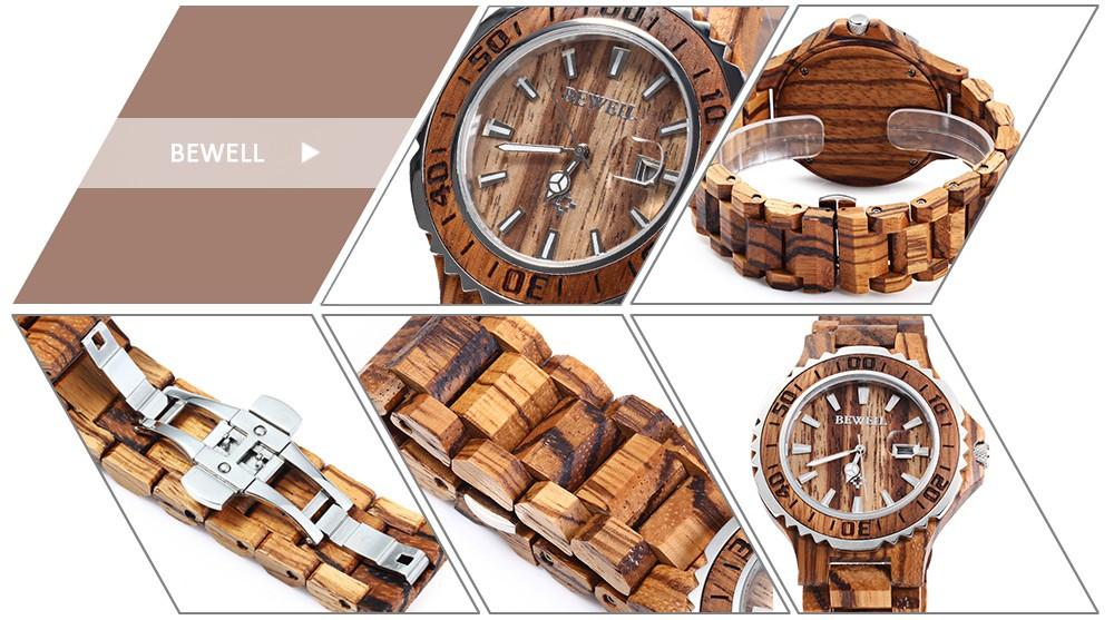 BEWELL 17 Luxury Brand Wooden Men Quartz Watch with Luminous Hands Calendar Water Resistance Analog Wrist watches reloj hombre 2
