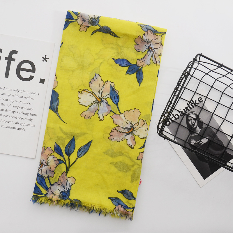 Yellow Flower   Scarf   Women bufandas mujer 2018 fashion warm women   scarves   winter   scarf     wrap   shawl Blanket   Scarf   Luxury Brand