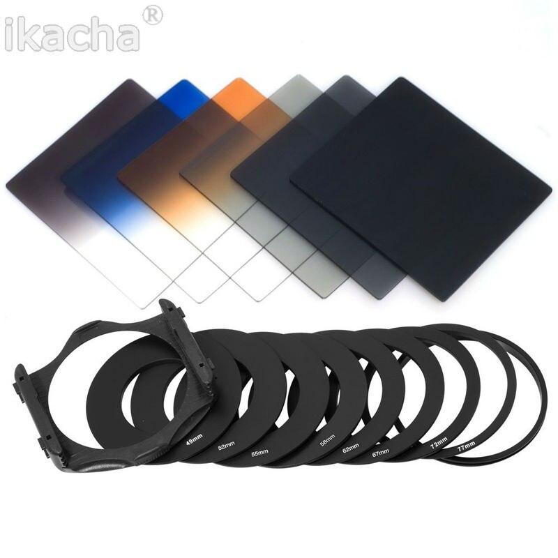 6pcs ND2 4 8 Graduated Grey Orange Blue 9pcs Adapter Filter For Cokin P Set Free