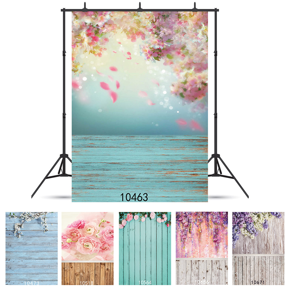 Photographic Background Flowers Watercolor Painting Wall Wood Flooring Vinyl Backdrop Fond Studio Photo Kids Newborn Photophone