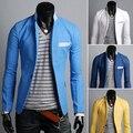 Blazers Apressado Hot Sale Regular Único Breasted Completa 2014 do Bloco da Cor Outerwear Fluido Material Fino Um Botão Terno Ocasional Masculino