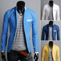 Blazers Rushed Hot Sale Regular Single Breasted Full 2014 Outerwear Color Block Fluid Material Thin One Button Casual Suit Male