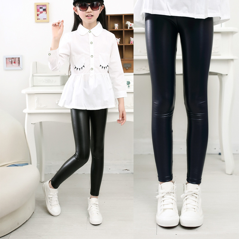 2018 Spring New Children Clothing Baby Girls Pu Leather Pants Leggings Girl Autumn Legging Kids Flower Warm Thin Slim Trousers spring autumn girls butterfly flower print leggings kids children slim pants