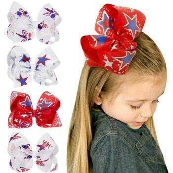 Lazo de pelo rojo blanco y azul, arco patriótico, arco del pelo del 4 de julio, lazos de pelo americanos, clips de pelo del Día de la independencia BB025D