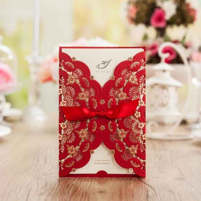 Laser Cut Wedding Invitations Red Birthday Invitation Card with Bowknot Wedding Favors Party Supplies Stock In USA CW5113 50pcs pack laser cut wedding invitations cards elegant flowers free printing birthday party invitation card casamento
