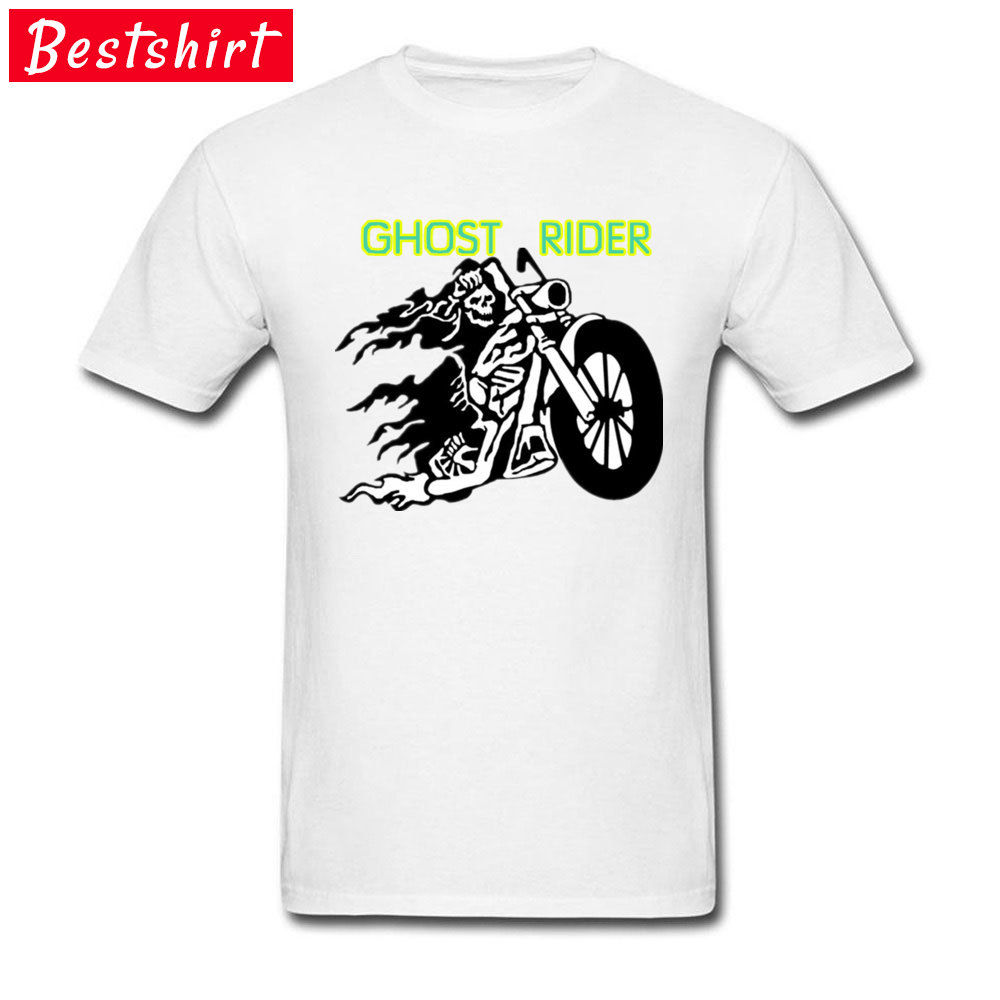 Men Cool Tees Grim Skull Ghost Rider Motorcycle Gothic T Shirt Printed On Geek Heavy Metal Rock Band Tshirt For Men Youth Cotton