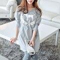 2017 Pijamas de Las Mujeres Femme Combinaison Animal Perro Patrón Pareja Pijama Mujer Pijama de Algodón Mujer Feminino Gris ropa de Dormir
