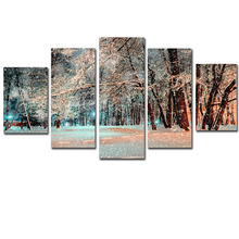 Canvas Wall Art Pictures Unframed Home Decoration Poster 5 Pieces Snow Woods Landscape Modern HD Print For Living Room Paint
