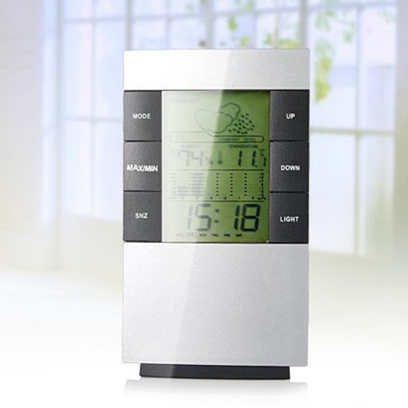 New LCD Digital Indoor Weather Thermometer Clocks Humidity Meter Hygrometer Alarm Clock High Quality