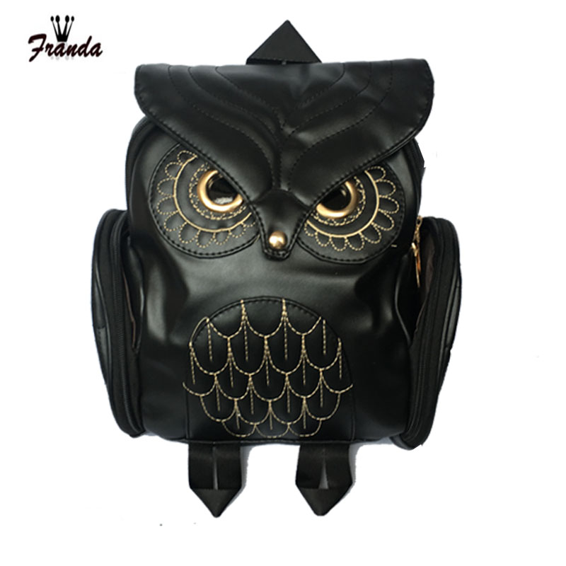 Fashion Women Backpack 2017 Newest Stylish Cool Black PU Leather Owl Backpack Female Hot Sale Women