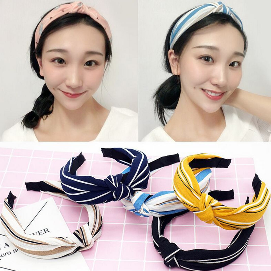 2019 Cute Knot Plastic Hairbands Headbands for Women Girls Fabric Floral Print Hairband Wide Hair Band Accessories in Women 39 s Hair Accessories from Apparel Accessories