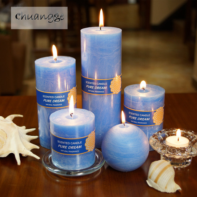 CHUANGGE Scented Candles Soy Wax Coconut Oil Smokeless Blue Bar Craft Illumination Candles Bougies Velas