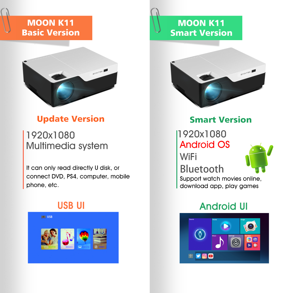 Image 3 - BYINTEK MOON K11 Smart Android Wifi 200inch 1920x1080 1080P FULL HD LED Video Projector with HD USB For Home Theater Cinema-in LCD Projectors from Consumer Electronics
