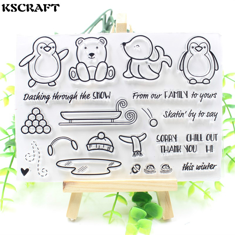 KSCRAFT Cute Transparent Clear Silicone Stamp/Seal for DIY scrapbooking/photo album Decorative clear stamp sheets lovely animals and ballon design transparent clear silicone stamp for diy scrapbooking photo album clear stamp cl 278