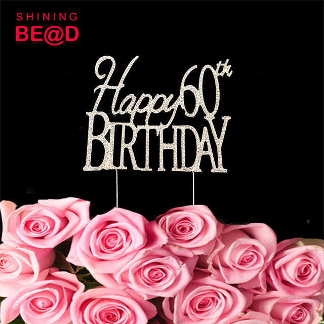 10 Pcs Lot Happy 60th 60 Birthday Milestone Cake Topper Gold For Souvenirs