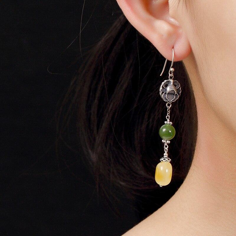 Boucles d'oreilles en argent Sterling 925 pur ambre naturel élégance Vintage pour femmes boucles d'oreilles en pierres précieuses de qualité supérieure pour bijoux de mariage