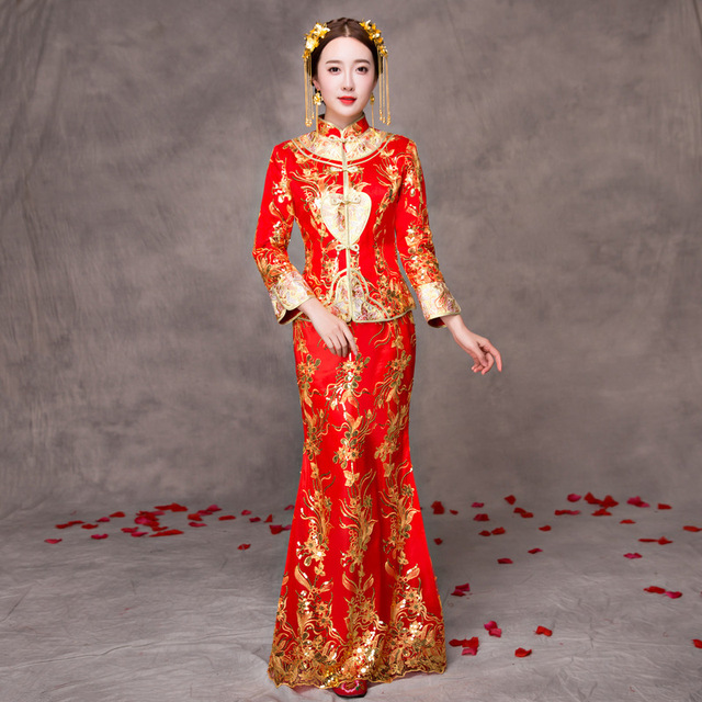 Traditional Chinese Wedding Gown 2017 New Cheongsam Cotton Bride ...