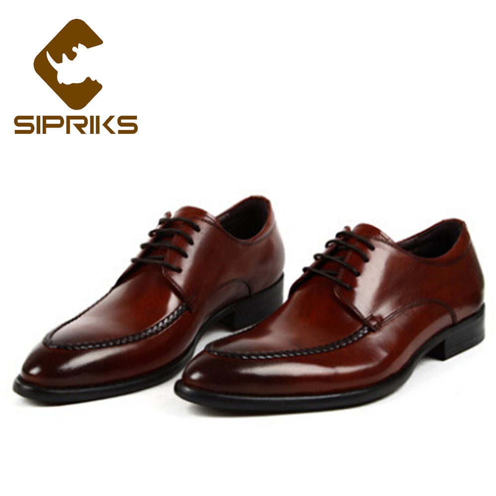 Sipriks Mens Official Shoes Real Leather Burgundy Dress Shoes Pointed Toe Mens Topsiders Male Wedding Party Wear Derby Shoes New sipriks mens single monk strap shoes fashion mens topsiders shoes pointed toe real leather dress shoes with buckle strap work