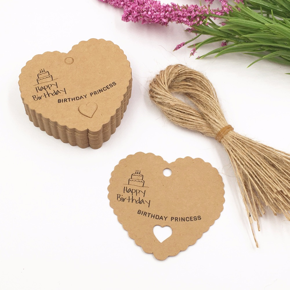 100pcs DIY Kraft Paper Tags Brown Heart Shape Label Luggage Wedding Note Hang tag Kraft Gift tags+100pcs hemp strings