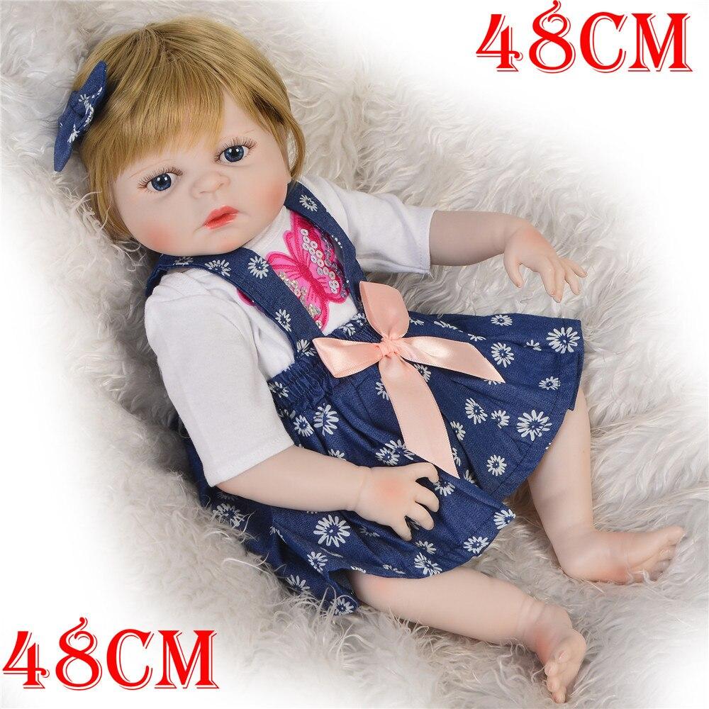 New 19 48cm Full vinyl Silicone body Doll Reborn Baby Toy For baby Newborn Baby Birthday