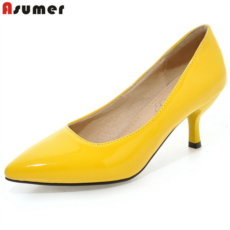 ASUMER Large Size 33-48 New Fashion High Heels Shoes Pointed Toe Classic Women Pumps Candy Color Party Wedding Shoes Drop Ship