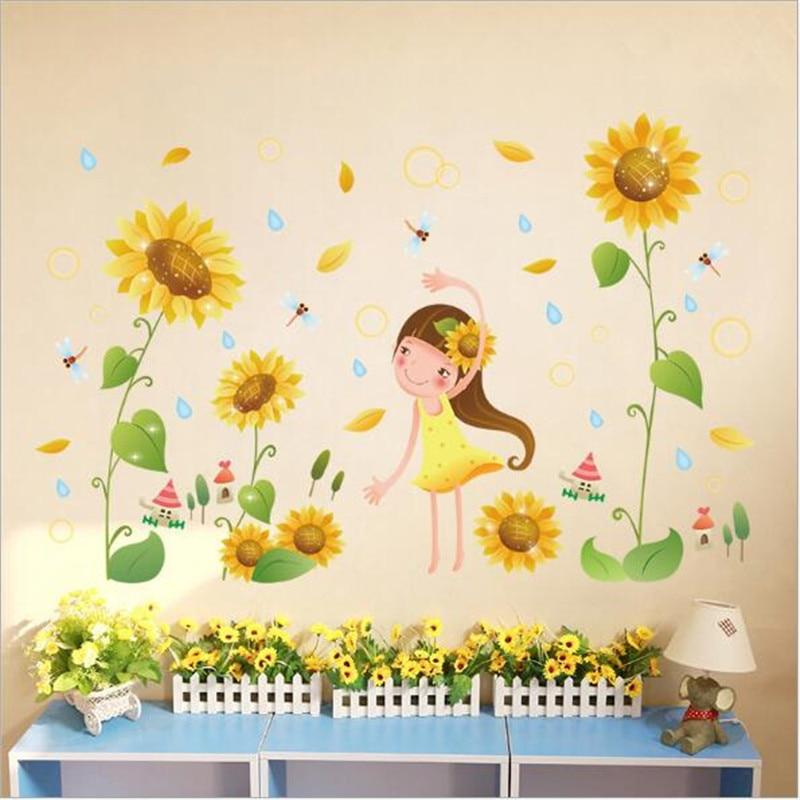 1pc Warna Warni Bunga Matahari Gadis Dinding Stiker Kuning Bunga Pada Stiker Dinding Untuk Kamar Tidur Ruang Tamu Dekorasi Removable Wallpaper Wall Stickers Aliexpress