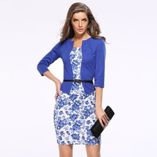 Summer Dress 2018 Royal Blue Floral Patchwork Pencil Dress Office Lady OL  Mini Dress Bodycon Vestidos Women Dresses + Belt LH708 212936354